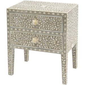 Petals Grey Bone Inlaid 2 Drawer Side Chest